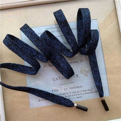 Шнурок трикотажной ярко-синий с добавлением чёрного и люрексом