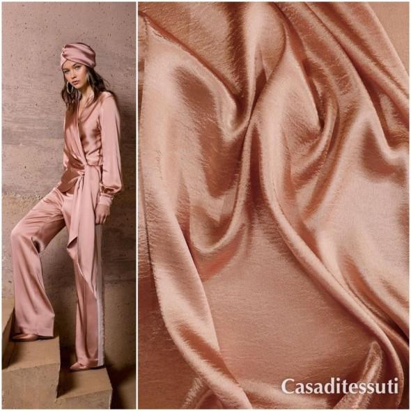 Ткань атласная розово-коралловая