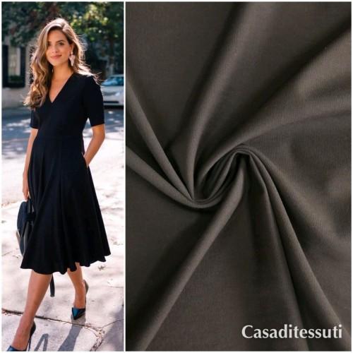 Ткань хлопок эластичный плательный чёрный