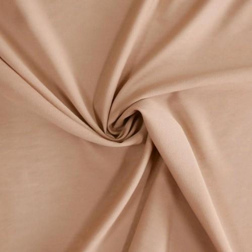 Ткань хлопок эластичный плательный теплый карамельный бежевые