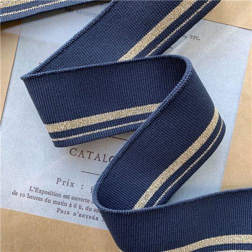 Довязы трикотажные джинсового цвета с золотистыми полосками