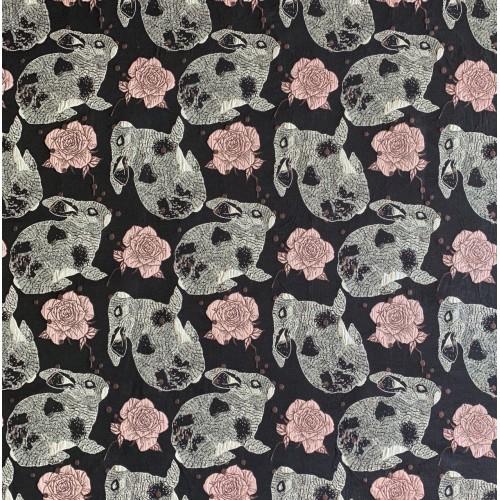 Ткань жаккардовая темно-синяя с серыми зайцами и розами