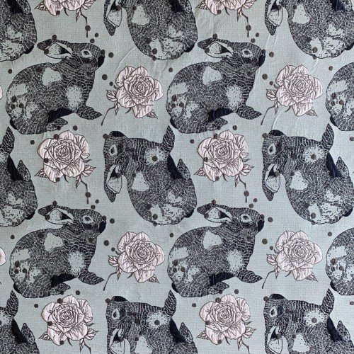 Ткань жаккардовая голубая с зайцами