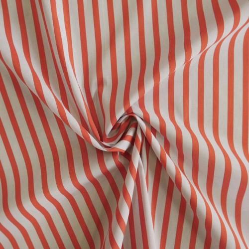 Хлопок рубашечный 100% нежно-голубой в оранжевую полоску