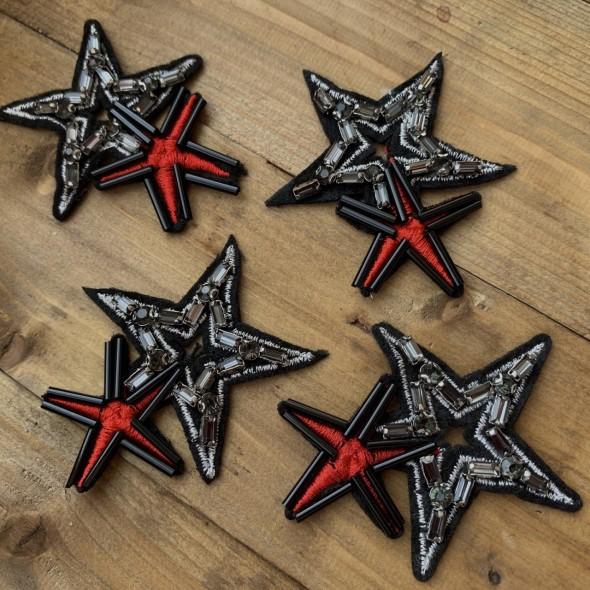 Нашивка для одежды сдвоенная звезда из страз и бисера