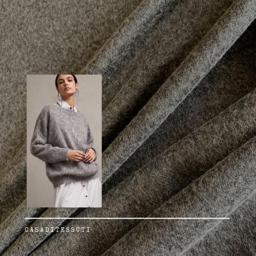 Трикотаж шерсть с вискозой меланжевый серый