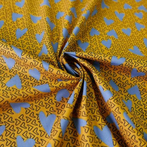 Ткань хлопок 100% желтый с голубыми сердечками