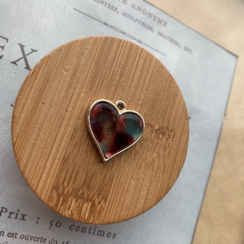 Подвеска сердечко из металла и пластика
