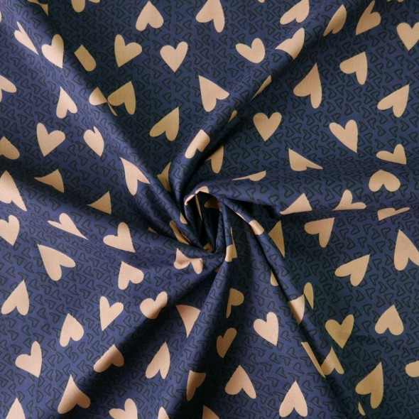 Ткань хлопок 100% тёмно-синий с принтом сердечки
