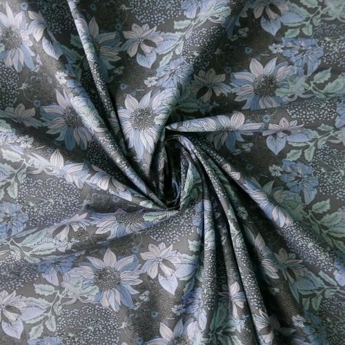 Ткань хлопок натуральный с цветочным принтом