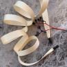 Шнурки из репсовой плотной ленты цвета топленого молока с чёрными матовыми концевиками