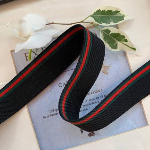 Резинка эластичная для поясов черная с цветными полосками в стиле Gucci
