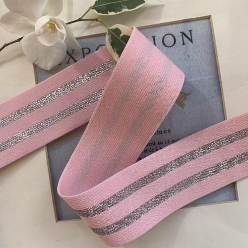 Резинка эластичная для поясов розовая с серебристыми полосками