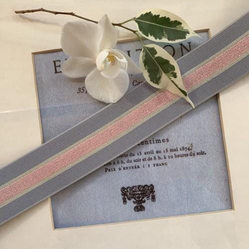 Резинка эластичная для поясов розовая в серо-розовых тонах