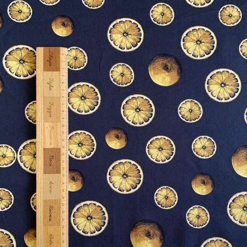 Хлопок сатинового переплетения с принтом лимоны
