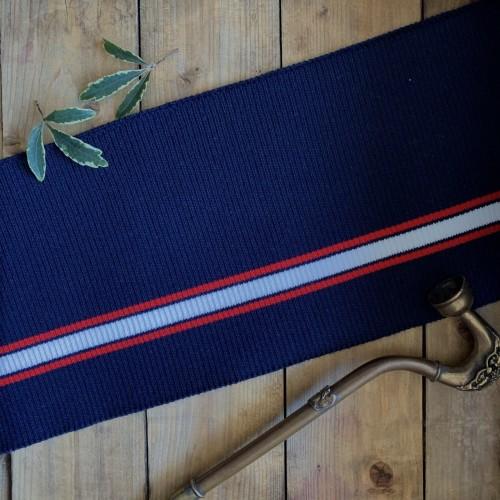 Подвязы трикотажные синие с красными и белой полосками