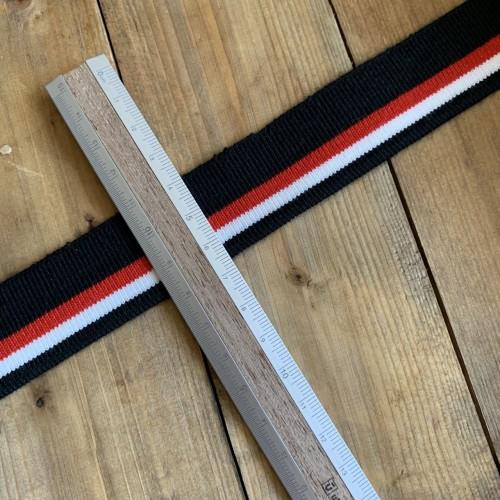Трикотажные подвязы из вискозы чёрные с белой и красной полосками