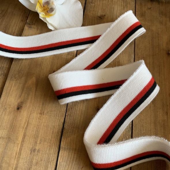 Трикотажные подвязы из вискозы белые с черной и красной полосками