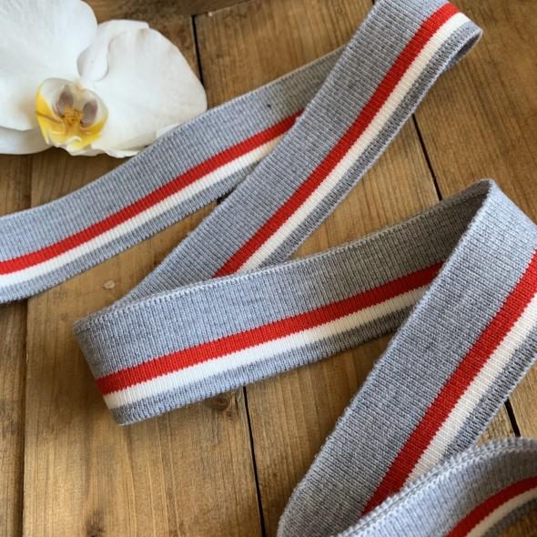 Трикотажные подвязы из вискозы серые с белой и красной полосками