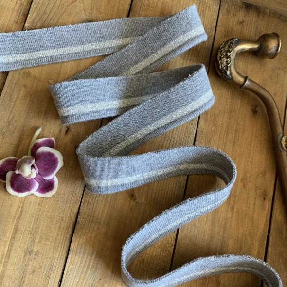 Трикотажные подвязы из вискозы светло-серые с серебристой полоской