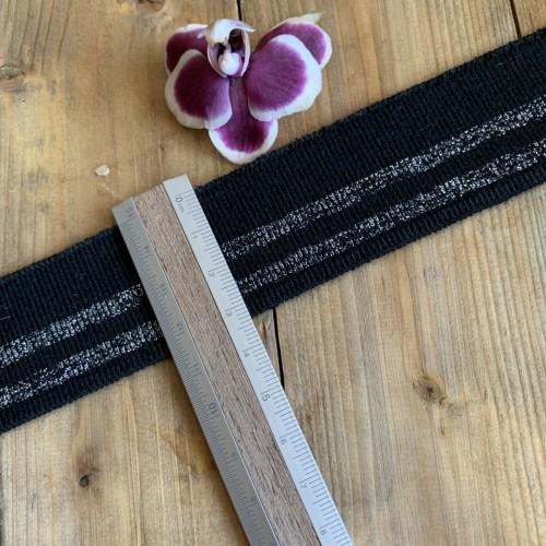 Трикотажные подвязы из вискозы черные с серебристыми полосками