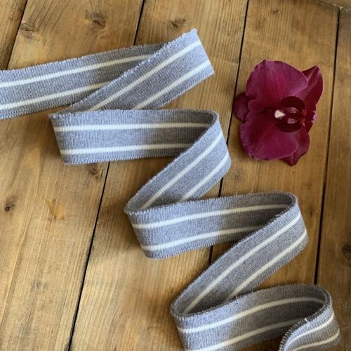 Трикотажные подвязы из вискозы серые с белыми полосками
