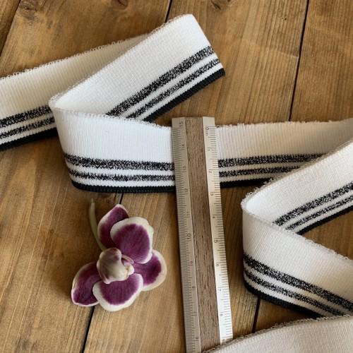 Молочные трикотажные подвязы с чёрными полосками и серебристым люрексом
