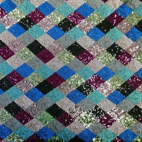 Ткань пайетки на основе из сетки с разноцветными ромбами